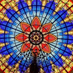 Colorful vitrage window...Glass roof