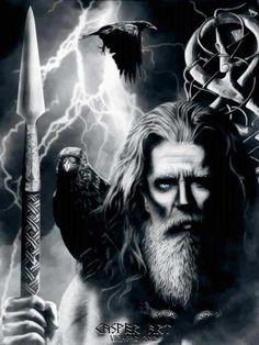 Odin holding Gungnir while Huginn and Muninn observe. Odin Norse Mythology, Norse Pagan, Old Norse, Art Viking, Viking Warrior, Norse Tattoo, Viking Tattoos, Tattoo Symbols, Odin Allfather