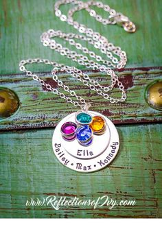 Personalized Mommy Necklace - Sterling Silver Grandma Necklace - Layered Necklace - Childrens Names - Birthstone Necklace - Stacked