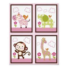 Set of 4 Jungle Jill Girl Animals 8x10 by PersonalizedbyDiane, $18.50