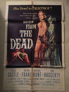 Back From The Dead 1957 Original Vintage One Sheet Movie Poster, Peggie Castle, Horror, Reincarnation