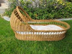 Vintage Antique Style Baby Bassinet  Natural by KeytothePassed, $75.00