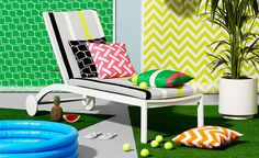 Outdoor Living: Graphic Prints and Bold Color for Summer – Interior Design Center of St Louis Outdoor Fabric, Outdoor Chairs, Outdoor Furniture, Outdoor Decor, Kitchen Benches, Cushion Fabric, Terrazzo, Bold Colors, Interior Inspiration