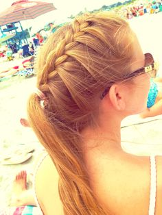 #hairstyle #braid #ponytail #easy #convenient cute hairstyle for the beach or whenever really! Works for sports too :)