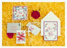 floral motif wedding invitations