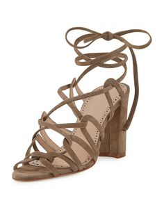 Jena+Suede+Lace-Up+Sandal,+Taupe+by+Manolo+Blahnik+at+Neiman+Marcus.