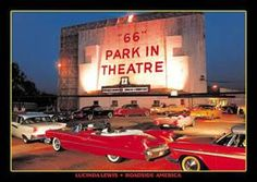 """66 Park-In in Crestwood, Missouri: screen tower and box office.  Many family outings at the various drive-in theaters.  """"66"""" was one of the best!  Also regularly went to Ronnies, South Twin, and even St.Ann with the really cool drum majorette neon sign (which is still there by the way, on a shopping center parking lot.)"""
