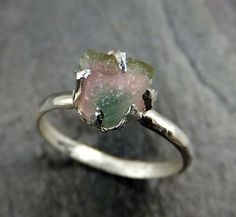 Raw Rough Uncut multi Color Tourmaline Ring by byAngeline on Etsy
