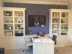Custom office with his and hers desks and bookshelves