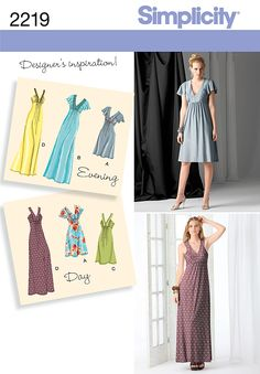 Simplicity's 2219 Misses' Evening Dress, $10.15. I could see these being really great spring-summer dresses made with a pretty patterned knit.