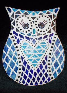 Owl Mosaic, Mosaic Birds, Blue Mosaic, Mosaic Art, Mosaic Glass, Glass Art, Mosaic Birdbath, Mosaic Garden Art, Mosaic Projects