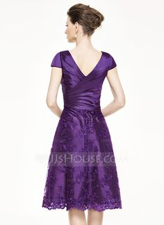 A-Line/Princess V-neck Knee-Length Ruffle Beading Sequins Zipper Up at Side Cap Straps Sleeveless No 2015 Grape Spring Summer Fall General Plus Taffeta Lace Mother of the Bride Dress