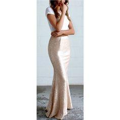 Sea Spray Matte Gold Sequin Maxi Skirt featuring polyvore women's fashion clothing skirts flared skirt long flared skirt long sequin skirt ankle length skirt floor length skirt