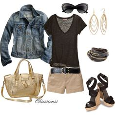 Black, Tan and Gold, created by obsessionss - wear black tee, jacket, khaki shorts and black wedges like this