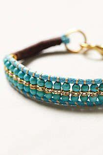 teoz's save of Anthropologie - Beaded Amitie Bracelet on Wanelo Leather Jewelry, Wire Jewelry, Jewelry Crafts, Beaded Jewelry, Jewelery, Handmade Jewelry, Beaded Wrap Bracelets, Jewelry Bracelets, Bracelet Making