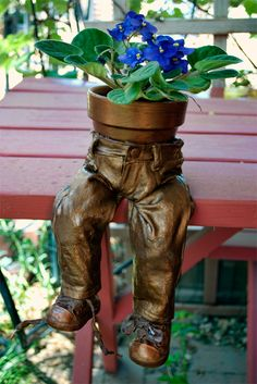 "Just in time for growing season. ""Little Britches"" is a Paverpol project created for holding a small plant."