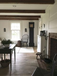 Wide plank floors, beams, multi-pane windows home decor in 201 Plywood Furniture, Farmhouse Interior, Farmhouse Style, American Farmhouse, Modern Farmhouse, Farmhouse Kitchens, Wide Plank Flooring, Living Spaces, Living Room