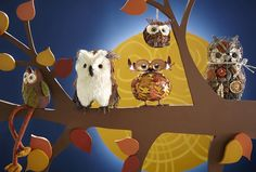 Harvest owls from Pier 1 including Dangle Legs Owl, Sisal Owl Décor and Owl Leaf Tealight Holder