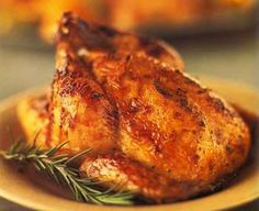 Roasted Cornish Hens with Orange-Honey-Mustard Glaze  (Diane Rossen Worthington)