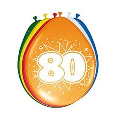 Gekleurde ballonnen 80 jaar. Deze gekleurde ballonnen hebben een opdruk met het cijfer 80 en zijn verpakt per 8 stuks. Formaat: 30 cm.