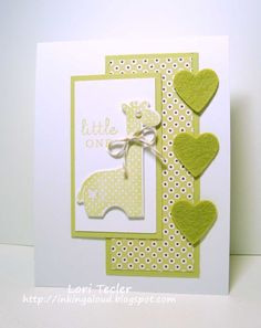 giraffe and hearts...baby card in lime green on white...sweet!!!