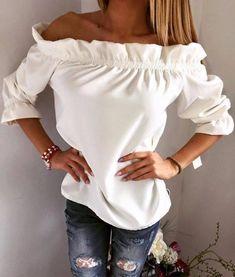 d8ff73a5391530 Charming Over Shoulder Ruffle Cute Shirt