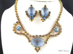 Vintage Pale Blue & Purple Rhinestone Necklace Choker & Clip On Earrings SET
