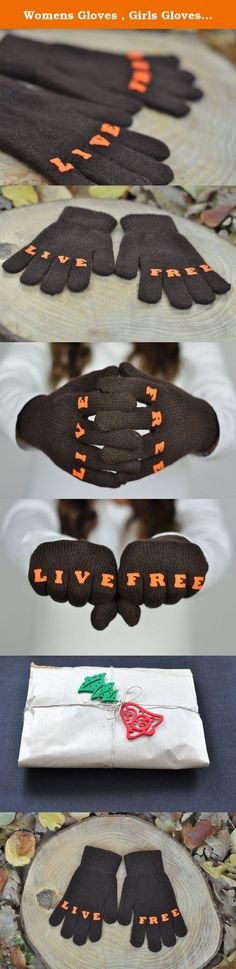 """Womens Gloves , Girls Gloves , Puzzle Gloves , Tattoo Gloves , Winter Accessories , Mitts , Handmade Gloves , Finger Tattoo , Christmas Gift , """"LIVEFREE"""" Tattoo with (Orange) Font. You can keep your hand warm in winter and cold environments with this handmade gloves. The felts are sewn by hand in gloves. You can protect your hands from cold and surprise your friends with our patented gloves. With your own choice, you can create your desired 8-letter words in the color of your choice and…"""