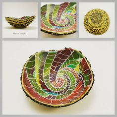Polymer clay trinket bowl or ring (jewelry) dish. It is unique, colorful and textured. So much fun to make. Find both the bowl and a…