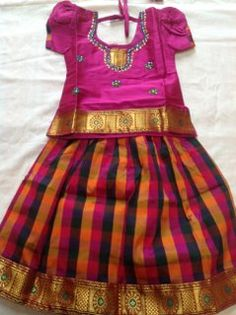 Classy girls #indian traditional dress for any occasion / festival. Gorgeous colors making it ideal for any special occasion or festival. Ideal for dance or recitals as well  Starts from Size 18 to 32.  Available for sizes from 1 year old girls up to 10.  Get this #Pavadai & #Blouse from #desiclik