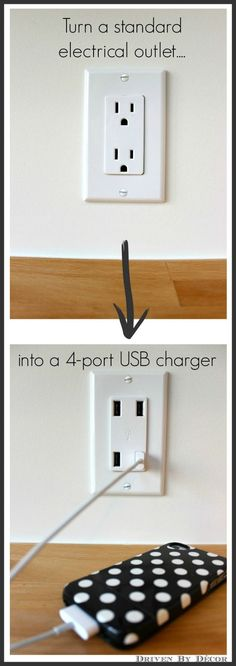 How To Turn a Standard Outlet into a 4-port USB Charger - great tutorial shows every step + a link to purchase the charger. Cool Diy, Gadgets, Diys, Driven By Decor, Reno Cuisine, Diy Crafts, Home Organization, Casa Ideal, Home Projects