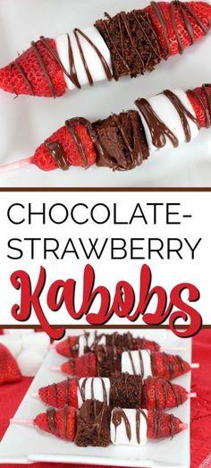 Chocolate Strawberry Dessert Kabobs - Chocolate Strawberry Dessert Kabobs for Valentine's Day - Valentine Desserts, Valentines Day Chocolates, Köstliche Desserts, Delicious Desserts, Yummy Treats, Dessert Recipes, Valentines Recipes, Brownie Desserts, Valentine Chocolate