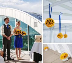 Denver Museum of Nature and Science wedding ceremony, DMNS sky terrace wedding, sunflower wedding decor, blue and yellow wedding ceremony decor, Kokoro Photography, Quintessential Events