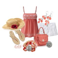 So cute!! love the top, summer outfit coral, white, tan && a hat--even great for the beach! <3