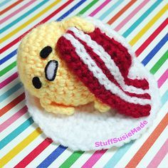 This is a pattern to crochet Gudetama with bacon blanket in amigurumi style. This is suitable for a beginner as I have included video instructions, although I would suggest using thicker yarn for beginners as I did this tutorial with fingering weight yarn for a small finish.