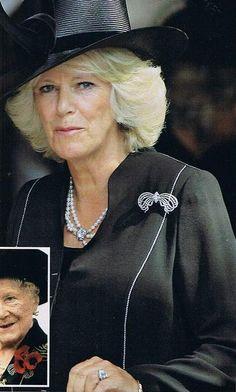 Camilla, Duchess of Cornwall wearing a diamond bow brooch that was a wedding present to Lady Elizabeth in 1923