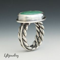 Silver Ring Turquoise Ring Battle Mountain Turquoise di LjBjewelry