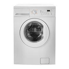 Es una lavadora de color blanco para el cuarto de baño