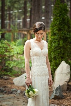 I'm in love with her dress! Real Weddings: Julia and Tony's Lake Tahoe Nuptials | Intimate Weddings - Small Wedding Blog - DIY Wedding Ideas for Small and Intimate Weddings - Real Small Weddings