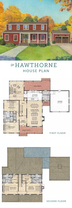 The Hawthorne House is a 4 bedroom Colonial farmhouse house plan with a flexible floor plan, attached garage, and ample porch space.
