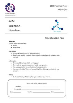 GCSE Prediction Exam Papers 2016