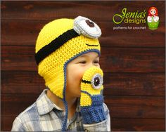 This crocheted Minion Inspired Hat and Mittens Set for boys and girls is super cute and fun! A perfect gift for any occasion! Great Christmas gift idea! THIS IS A FINISHED PRODUCT.  SIZE: 3-5 YEARS  If not your size but you wish to have it made for you or your loved one check out the links below: Minion Hat https://www.etsy.com/listing/258568045/minion-hat-for-boys-or-girls-made-to?ref=listing-shop-header-2 Minion Mittens…