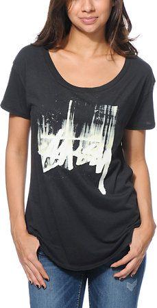 Stussy Stock Paint Black Tee Shirt at Zumiez : PDP