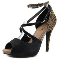 4b52dc93f205 Sofia Z Jessica Women Peep-Toe Synthetic Black Heels ( 41) ❤ liked on