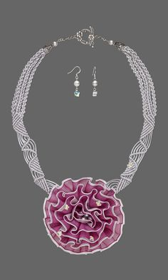 Jewelry Design - Single-Strand Necklace and Earring Set with Satinique™ Satin Cord, Polyester Chiffon and Felt Embellishment and Swarovski Crystal - Fire Mountain Gems and Beads