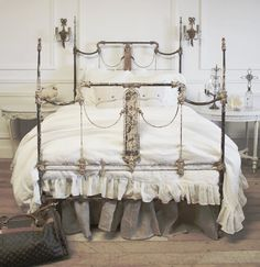 ♥ French vintage bedroom, iron post bed