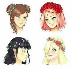 I like Hinata, Ino and Tenten's flower headband