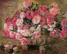 Pierre-Auguste Renoir - Stillleben mit Pfingstrosen - als handgemaltes Ölgemälde auf Keilrahmen (82 x 66 cm)
