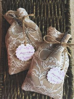 rustic lace and burlap wedding favor bags