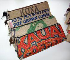 Purses made from Repurposed Hawaiian Coffee Burlap Bags Burlap Coffee Bags, Hessian Bags, Burlap Sacks, Jute Bags, Burlap Projects, Burlap Crafts, Sewing Projects, Burlap Purse, Coffee Bean Sacks